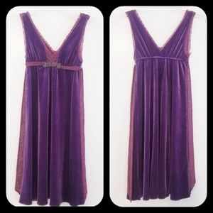 Free People  Purple Velvet Lace Beaded Dress XS